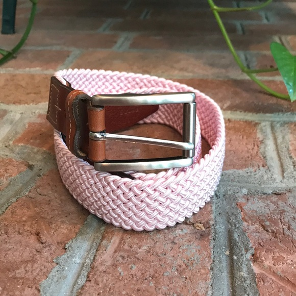 Accessories Mens Pink And Leather Knit Belt Poshmark